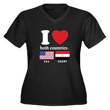USA-EGYPT Women's Plus Size V-Neck Dark T-Shirt