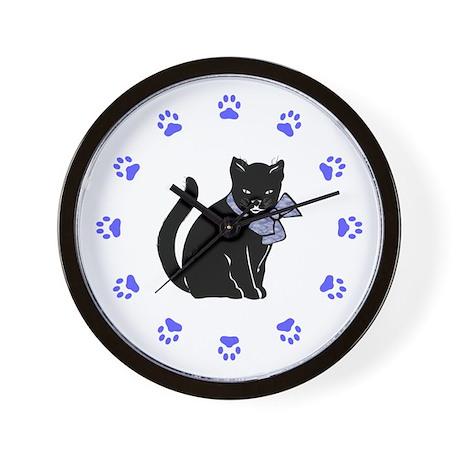 Black Cat W/Purple Bow Wall Clock