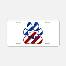 USA Paw Aluminum License Plate