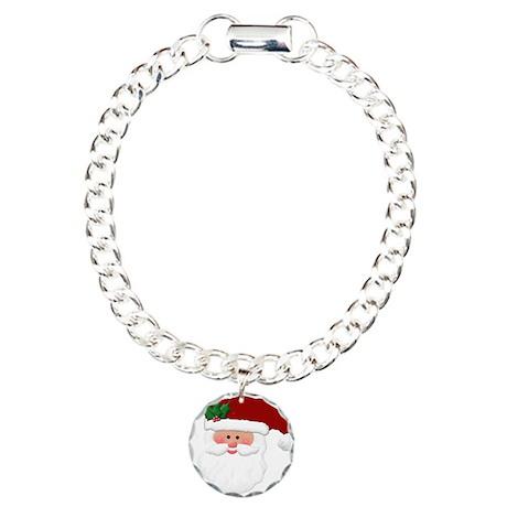 Christmas Santa Claus Face Charm Bracelet, One Cha