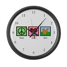 Peace Love Mice Large Wall Clock
