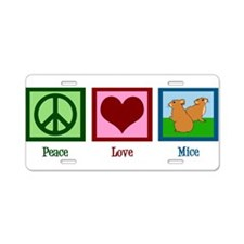 Peace Love Mice Aluminum License Plate