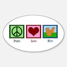 Peace Love Mice Sticker (Oval)