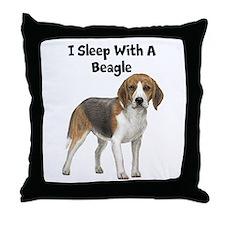I Sleep With A Beagle Throw Pillow