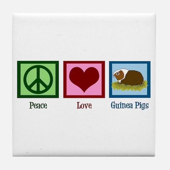 Peace Love Guinea Pigs Tile Coaster