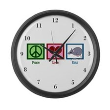 Peace Love Rats Large Wall Clock