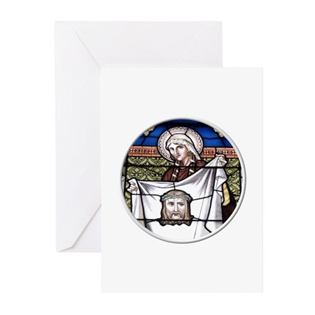 St. Veronica Stained Glass Window Greeting Cards (