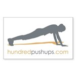 hundredpushups.com rectangular sticker 10pk