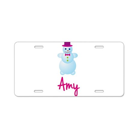 Amy the snow woman Aluminum License Plate