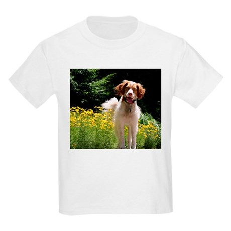 Brittany and Yellow Flowers Kids Light T-Shirt