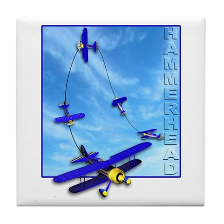 Hammerhead Aerobatics Blue Airplane Tile Coaster