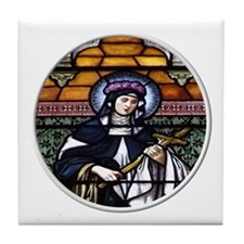 St. Rose of Lima Stained Glass Window Tile Coaster