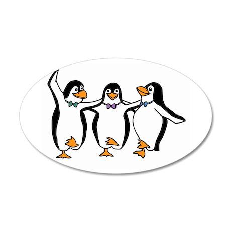 Penguins Dancing 38.5 x 24.5 Oval Wall Peel