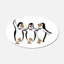 Penguins Dancing 22x14 Oval Wall Peel
