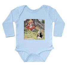ALICE & THE WHITE RABBIT Long Sleeve Infant Bodysu