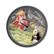 ALICE & THE WHITE RABBIT Wall Clock