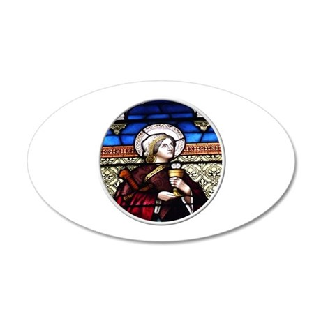 ST. BARBARA STAINED GLASS WINDOW 35x21 Oval Wall D