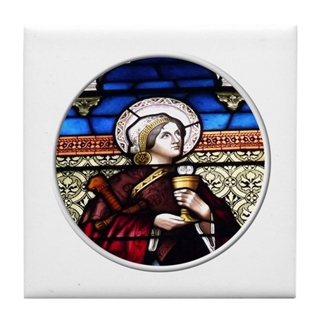 ST. BARBARA STAINED GLASS WINDOW Tile Coaster