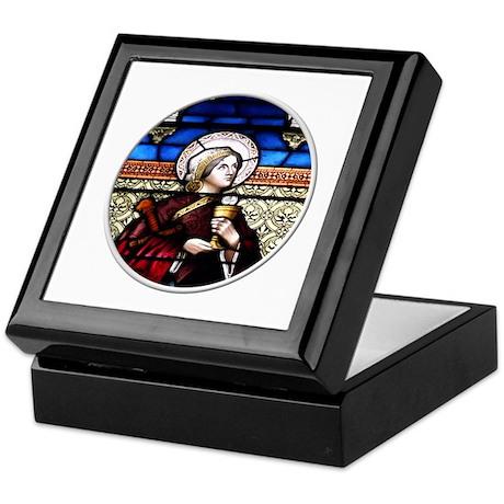 ST. BARBARA STAINED GLASS WINDOW Keepsake Box