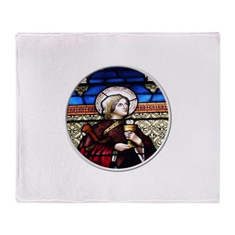 ST. BARBARA STAINED GLASS WINDOW Throw Blanket