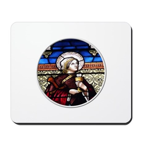 ST. BARBARA STAINED GLASS WINDOW Mousepad