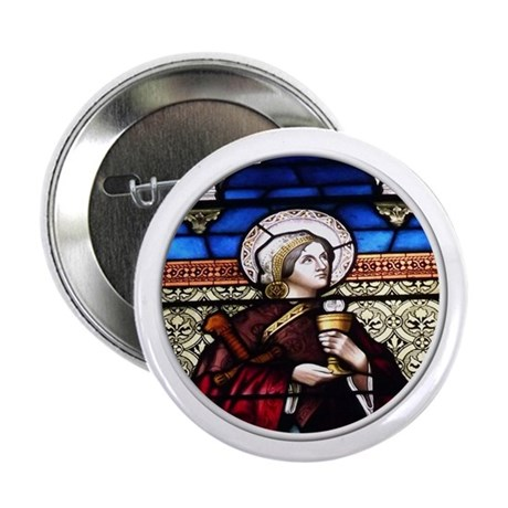 """ST. BARBARA STAINED GLASS WINDOW 2.25"""" Button"""