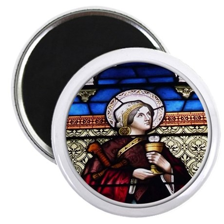 """ST. BARBARA STAINED GLASS WINDOW 2.25"""" Magnet (100"""