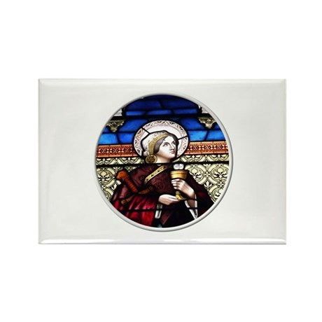 ST. BARBARA STAINED GLASS WINDOW Rectangle Magnet
