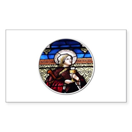 ST. BARBARA STAINED GLASS WINDOW Sticker (Rectangl