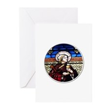 ST. BARBARA STAINED GLASS WINDOW Greeting Cards (P