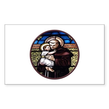 ST. ANTHONY OF PADUA STAINED GLASS WINDOW Sticker