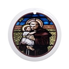 ST. ANTHONY OF PADUA STAINED GLASS WINDOW Ornament