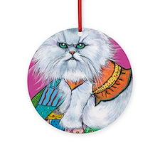 """Persian White Cat """"Morrison"""" Ornament (Round)"""