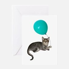 Cat with Ballon Greeting Card