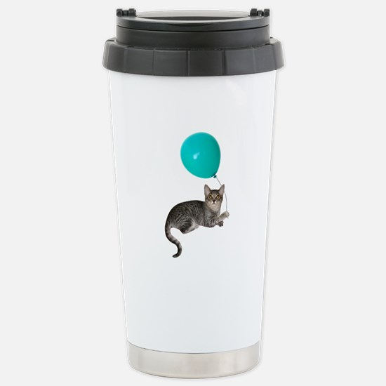 Cat with Ballon Stainless Steel Travel Mug