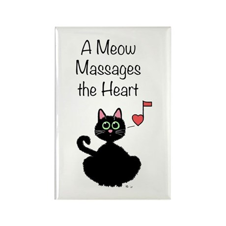 Meow Massages the Heart Rectangle Magnet