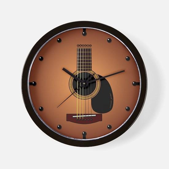 acoustic guitar sunburst Wall Clock