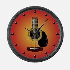 acoustic guitar cherry sunburst Large Wall Clock