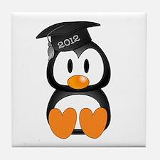 Custom Graduation Penguin Tile Coaster