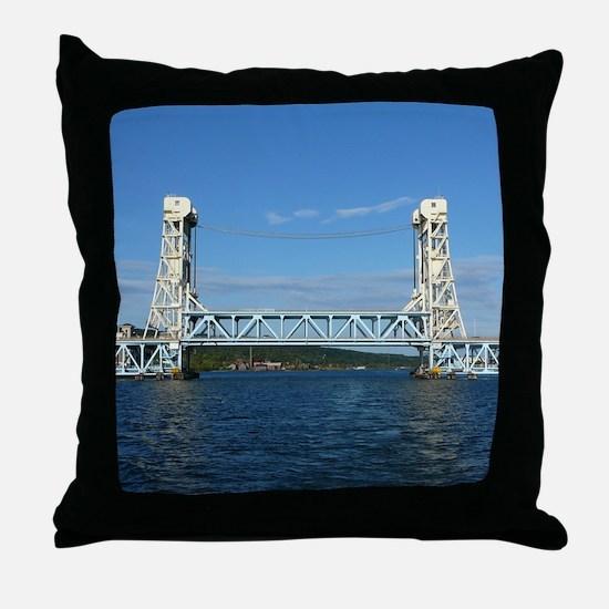 Portage Lake Lift Bridge Throw Pillow