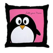 Add NAME - Penguin PINK Throw Pillow
