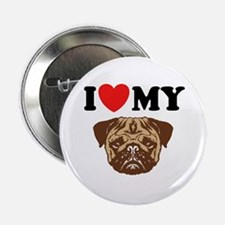 I Love My Pug Button