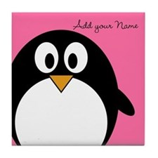 Add NAME - Penguin PINK Tile Coaster