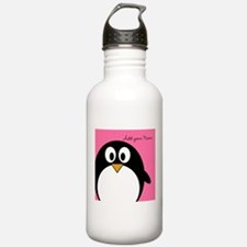 Add NAME - Penguin PINK Water Bottle