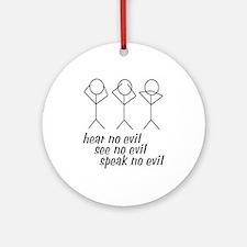 Hear No Evil Stick Figures Ornament (Round)