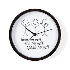 Hear No Evil Stick Figures Wall Clock