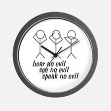 Hear No Evil Stick Figures Wall Clock