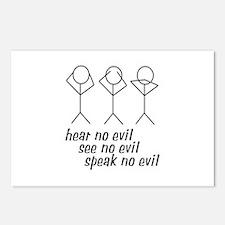 Hear No Evil Stick Figures Postcards (Package of 8