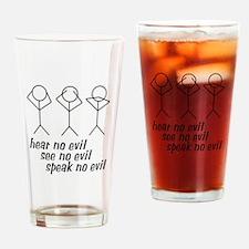 Hear No Evil Stick Figures Drinking Glass