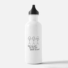 Hear No Evil Stick Figures Sports Water Bottle